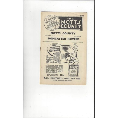 1957/58 Notts County v Doncaster Rovers Football Programme