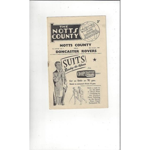 1958/59 Notts County v Doncaster Rovers Football Programme
