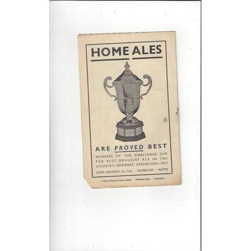 1958/59 Notts County v Reading Football Programme