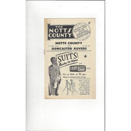 1959/60 Notts County v Doncaster Rovers Football Programme