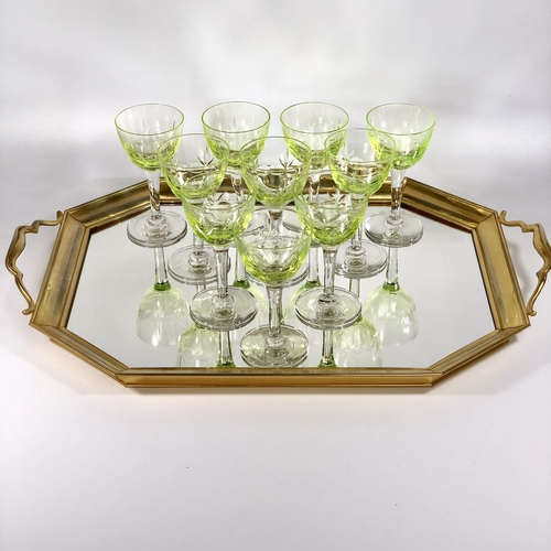Mid Century golden and mirror cocktail tray