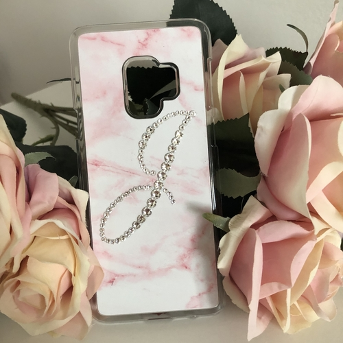 Marble Initial Phone Case with Swarovski Crystal