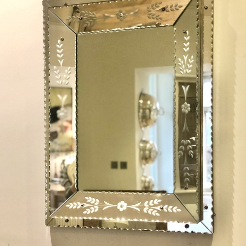 1930s Venetian etched glass large mirror