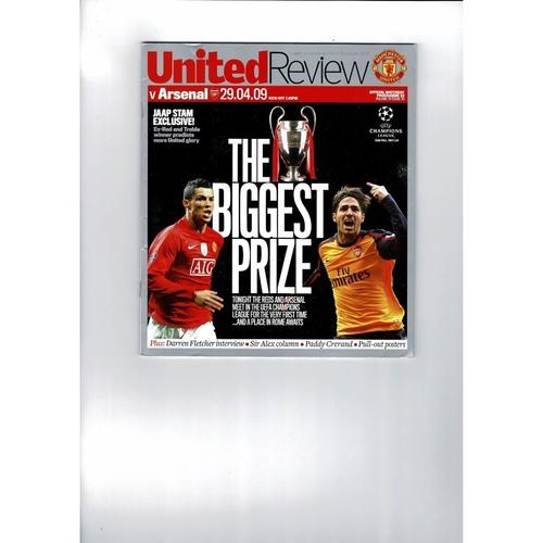 2009 Manchester United v Arsenal Champions League Semi Final Football Programme
