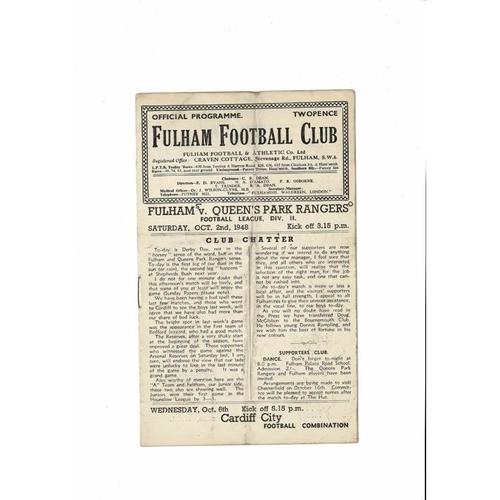 1948/49 Fulham v Queens Park Rangers Football Programme