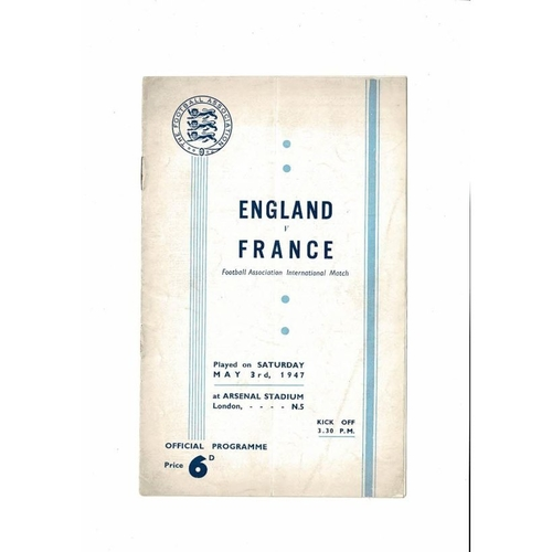 1947 England v France Football Programme @ Arsenal