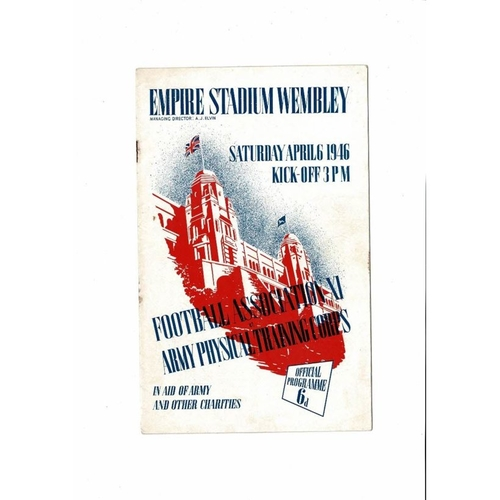 FA X1 v Army Physical Corps Friendly Football Programme 1946