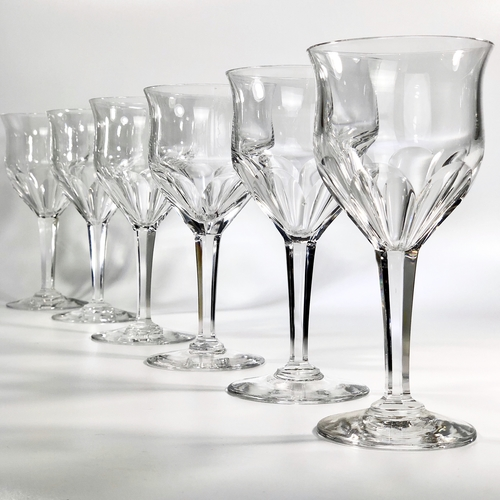 6 Val Saint Lambert Oreste crystal wine goblets