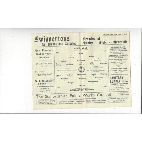 1955/56 Port Vale v Doncaster Rovers Football Programme