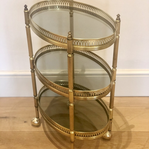 Dinky oval Mid 20th Century brass cocktail trolley