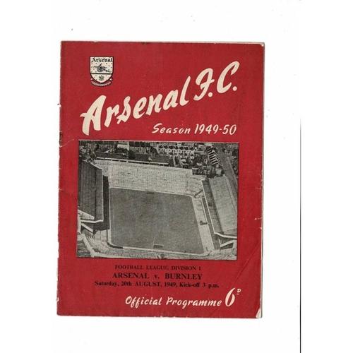 1949/50 Arsenal v Burnley Football Programme