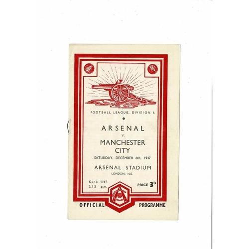 1947/48 Arsenal v Manchester City Football Programme