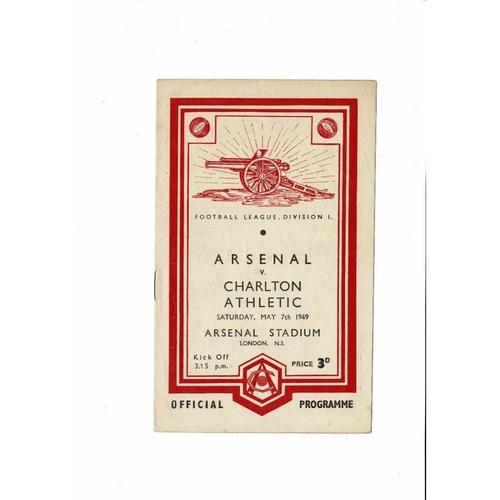 1948/49 Arsenal v Charlton Athletic Football Programme