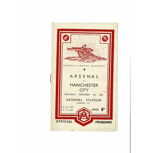 1948/49 Arsenal v Manchester City Football Programme