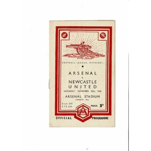 1948/49 Arsenal v Newcastle United Football Programme