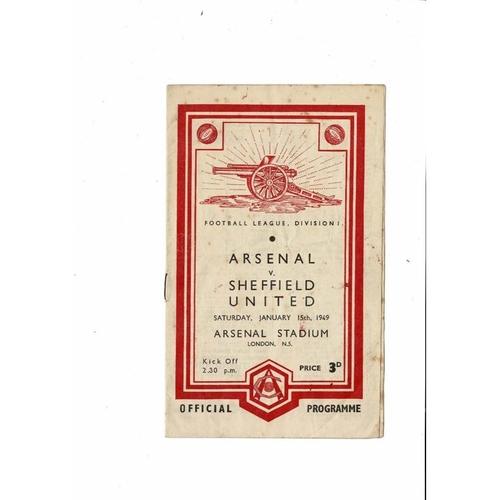 1948/49 Arsenal v Sheffield United Football Programme