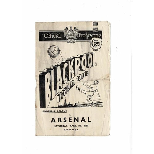 1949/50 Blackpool v Arsenal Football Programme