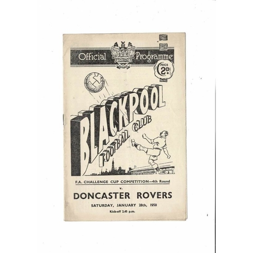 1949/50 Blackpool v Doncaster Rovers FA Cup Football Programme