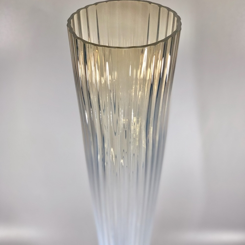 Giant Art Deco opalescent ribbed glass vase