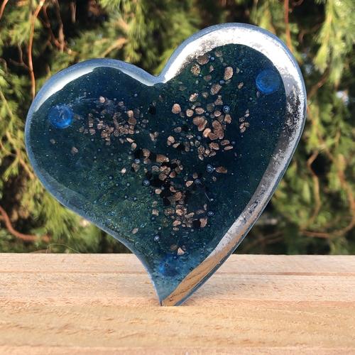 Blue & Platinum Glass Coasters (Heart)