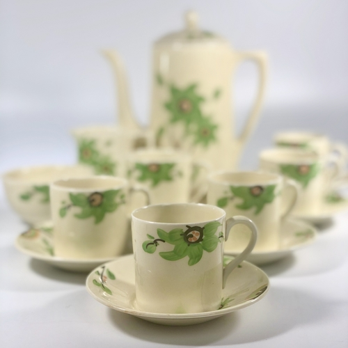 Gorgeous Art Deco green flower coffee set