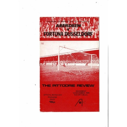 Aberdeen v Fortuna European Cup Winners Cup Football Programme 1978/79