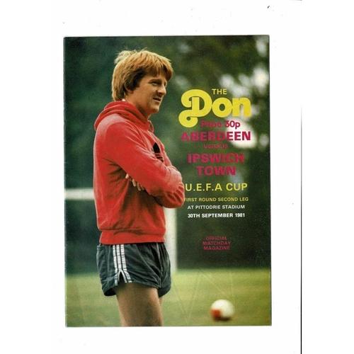 Aberdeen v Ipswich Town UEFA Cup Football Programme 1981/82