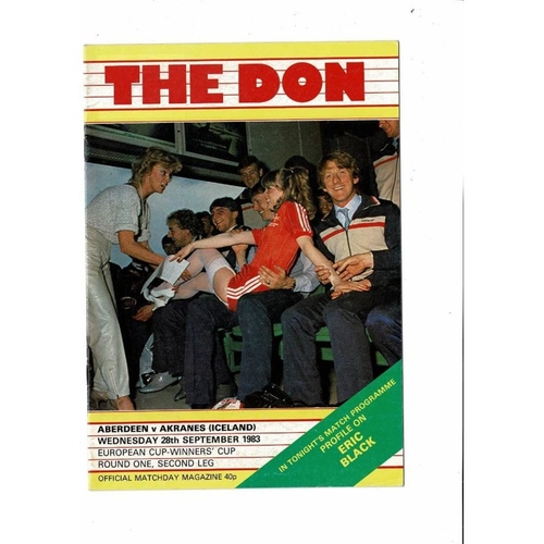 Aberdeen v Akranes European Cup Winners Cup Football Programme 1983/84
