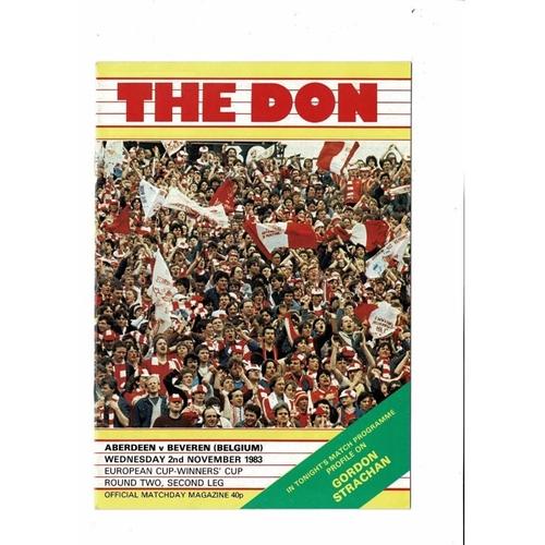 Aberdeen v Beveren European Cup Winners Cup Football Programme 1983/84