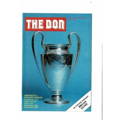 Aberdeen v Dynamo Berlin European Cup Football Programme 1984/85
