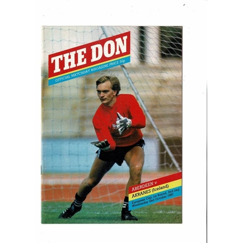 Aberdeen v  Akranes European Cup Football Programme 1985/86