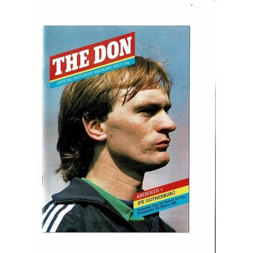 Aberdeen v  Gothenburg European Cup Football Programme 1985/86