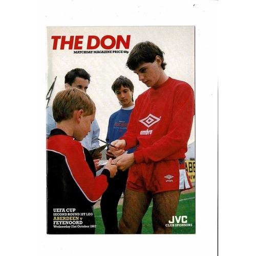 Aberdeen v Feyenoord UEFA Cup Football Programme 1987/88