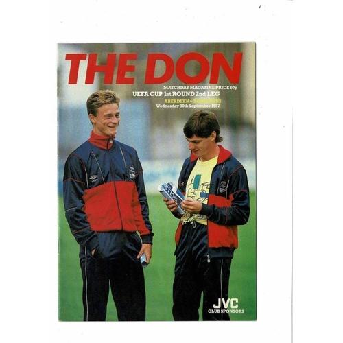 Aberdeen v Bohemians UEFA Cup Football Programme 1987/88