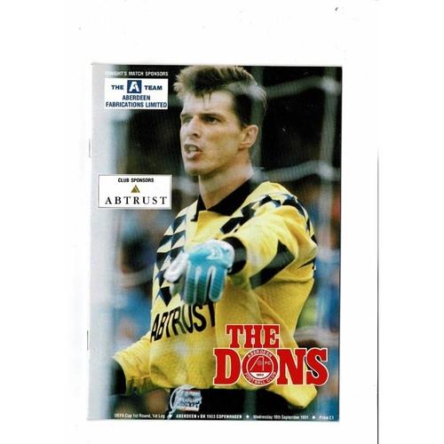 Aberdeen v BK 903 Copenhagen UEFA Cup Football Programme 1991/92