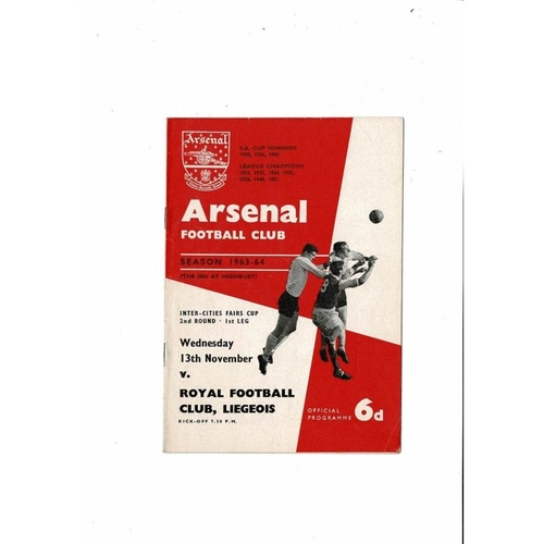 Arsenal v Royal Club Liegeois Fairs Cup Football Programme 1963/64