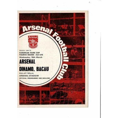 Arsenal v Dinamo Bacau UEFA Fairs Cup Football Programme 1969/70