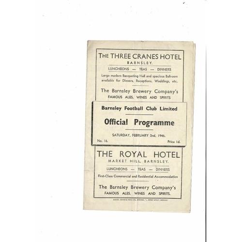 1945/46 Barnsley v Manchester City Football Programme