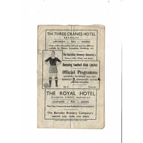 1947/48 Barnsley v Doncaster Rovers Football Programme