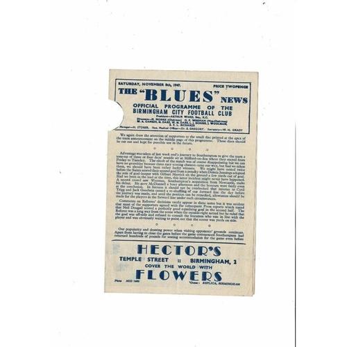1947/48 Birmingham City v Doncaster Rovers Football Programme