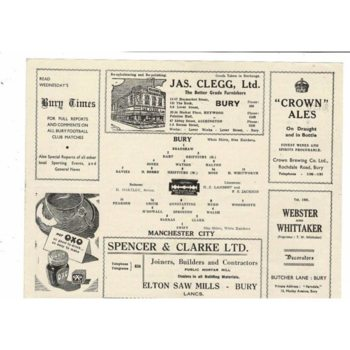 1945/46 Bury v Manchester City Football Programme