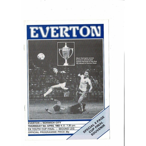 1983 Everton v Norwich City FA Youth Cup Final Football Programme