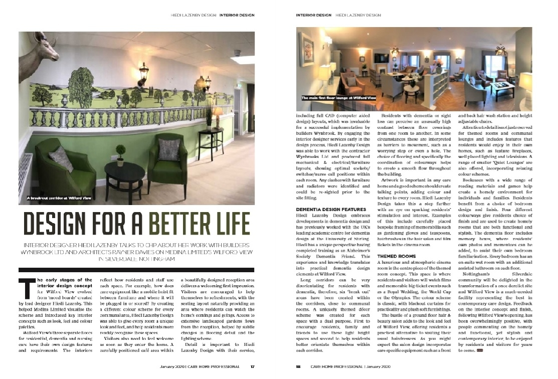 Design for a better Life - Wilford View Care Home write up in Care Home Professional Magazine
