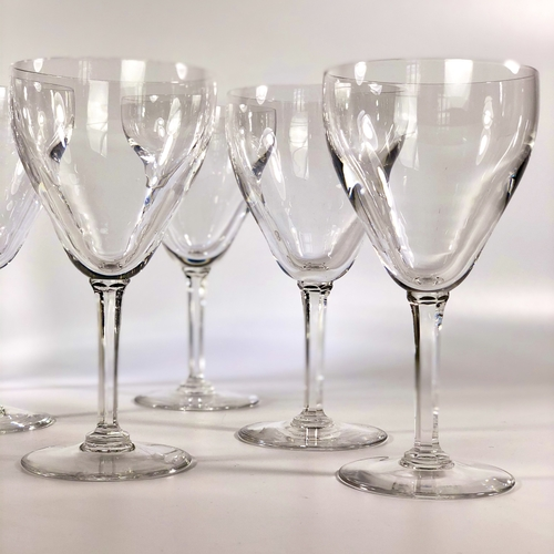 Six Val Saint Lambert crystal wine or water goblets