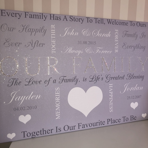 Personalised Word Art Glitter Canvas (design 1)