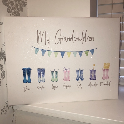 Welly Boot Personalised Glitter Canvas