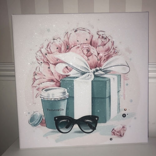 Glitter Blue & Pink Gift Box & Canvas