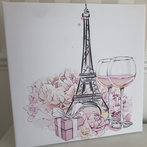 Glitter Floral Paris Canvas