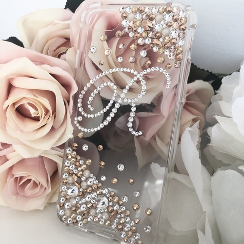 Swarovski Initial Phone Case Gold Ombré