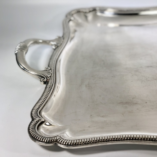 Large 1920s silver plated twin handled serving tray